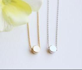 Tiny dot necklace, gold dot, silver dot