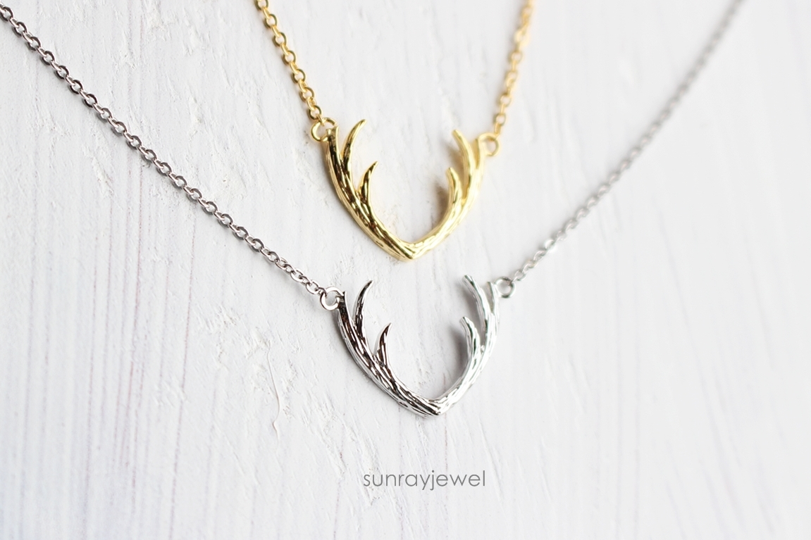deer antler necklace animal necklace simple necklace on