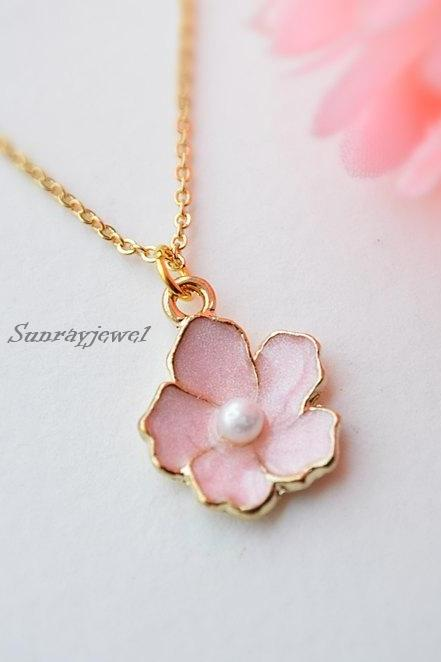 Cherry blossom pendant necklace in gold, Sakura necklace, Simple necklace, Minimal