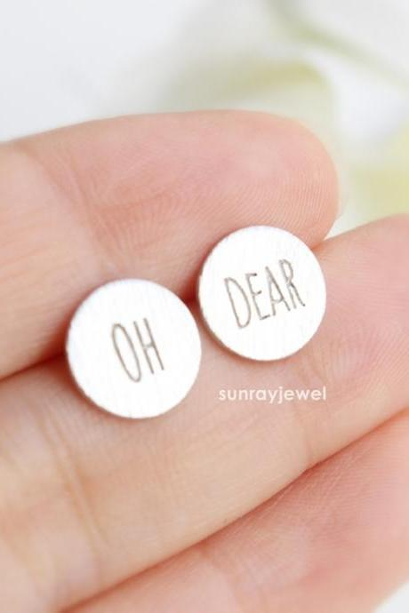 OH DEAR stud earrings with Sterling Silver ear post, Coin studs, Minimal, Simple, Cute, Dainty