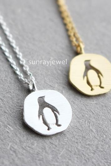 Dainty Penguin necklace, Animal necklace, Coin necklace, Minimal, Gift, Simple