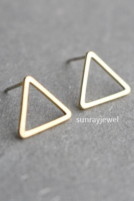 Triangle stud earrings, Sterling Silver Posts, Geometric earrings, Simple, gift