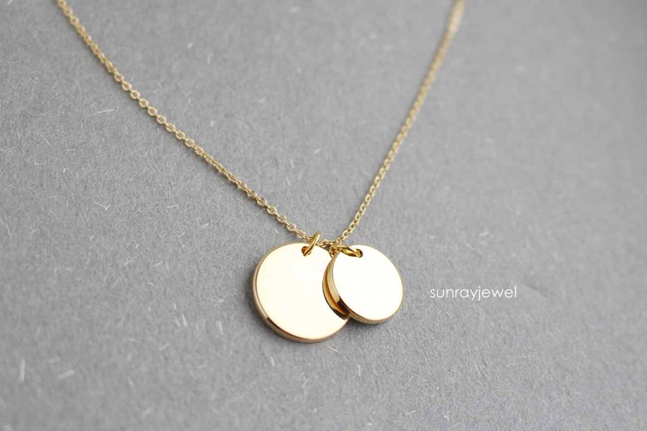coin necklace in gold disc necklace geometric